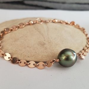 Tahitian pearl disc chain bracelet silver gold